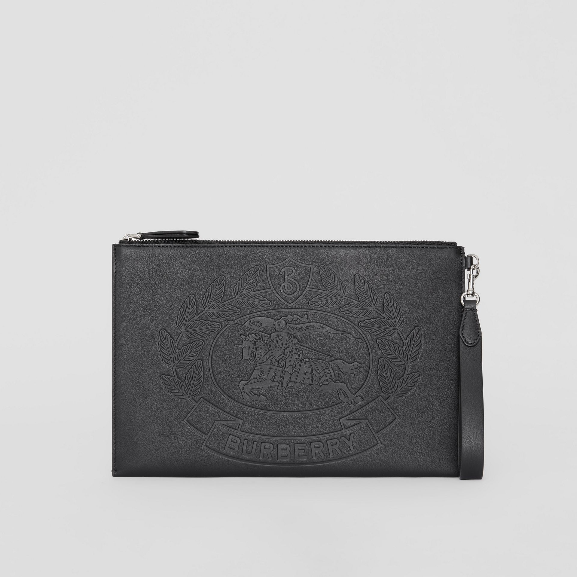 Embossed Crest Leather Zip Pouch in Black - Men | Burberry - gallery image 7
