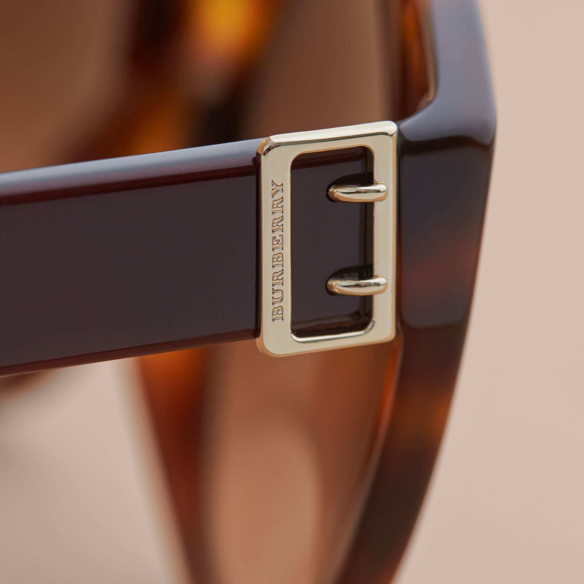 Buckle Detail Round Frame Sunglasses in Tortoise Green - Women | Burberry - gallery image 2