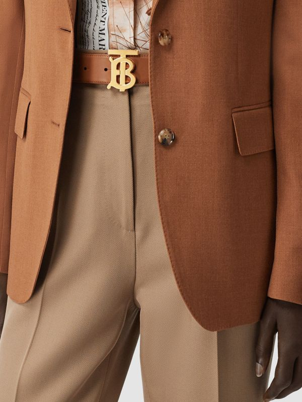 Monogram Motif Leather Belt in Tan - Women | Burberry United States - cell image 2