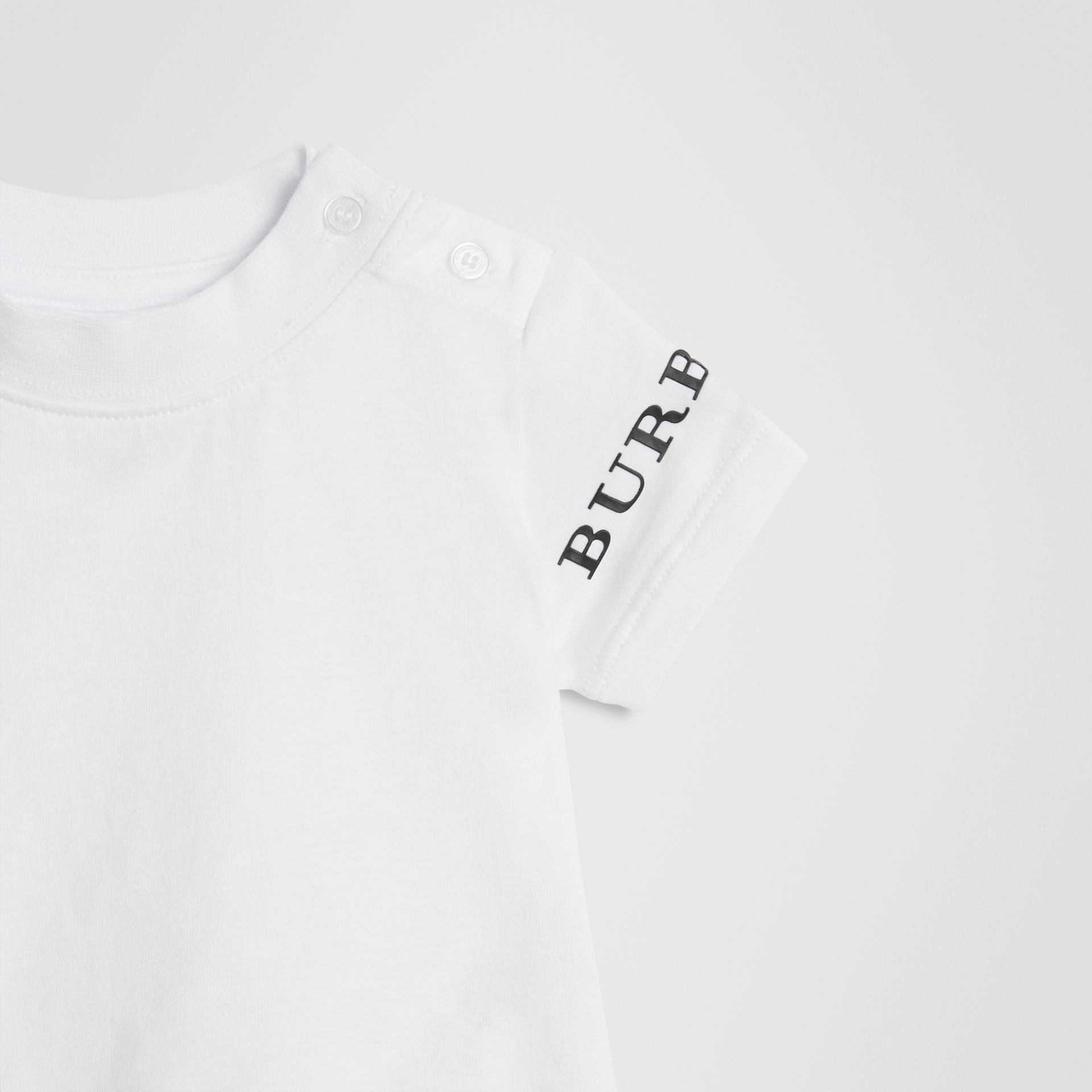 Logo Print Cotton T-shirt in White - Children | Burberry - gallery image 5