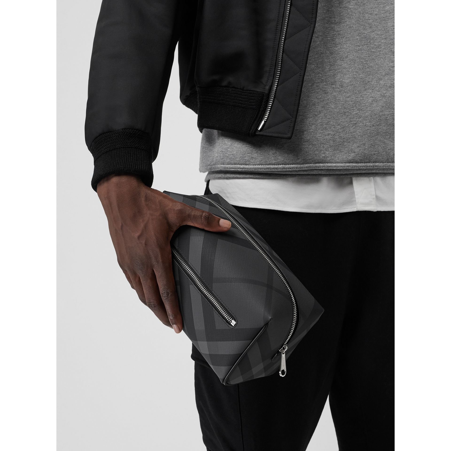 London Check and Leather Pouch in Charcoal/black - Men | Burberry Australia - gallery image 3