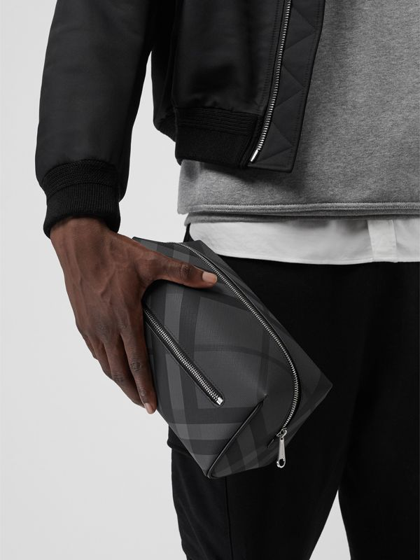 London Check and Leather Pouch in Charcoal/black - Men | Burberry Australia - cell image 3