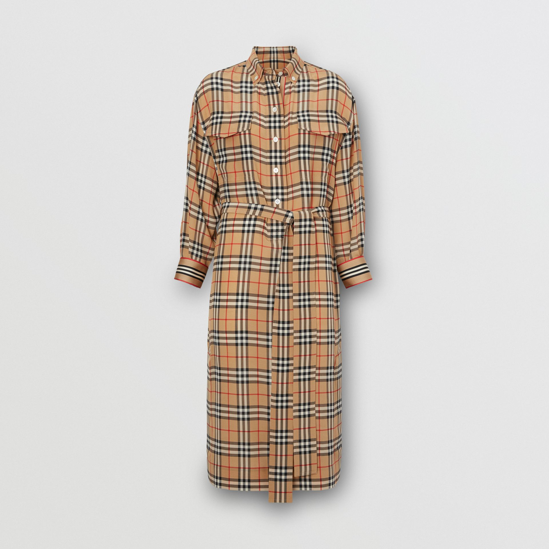 Vintage Check Silk Tie-Waist Shirt Dress in Archive Beige - Women | Burberry Canada - gallery image 3