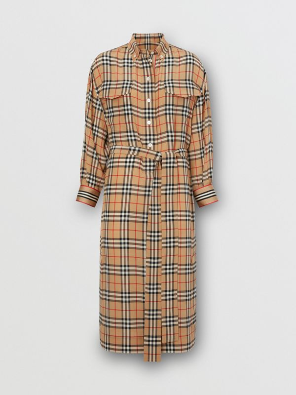 Vintage Check Silk Tie-Waist Shirt Dress in Archive Beige - Women | Burberry Canada - cell image 3