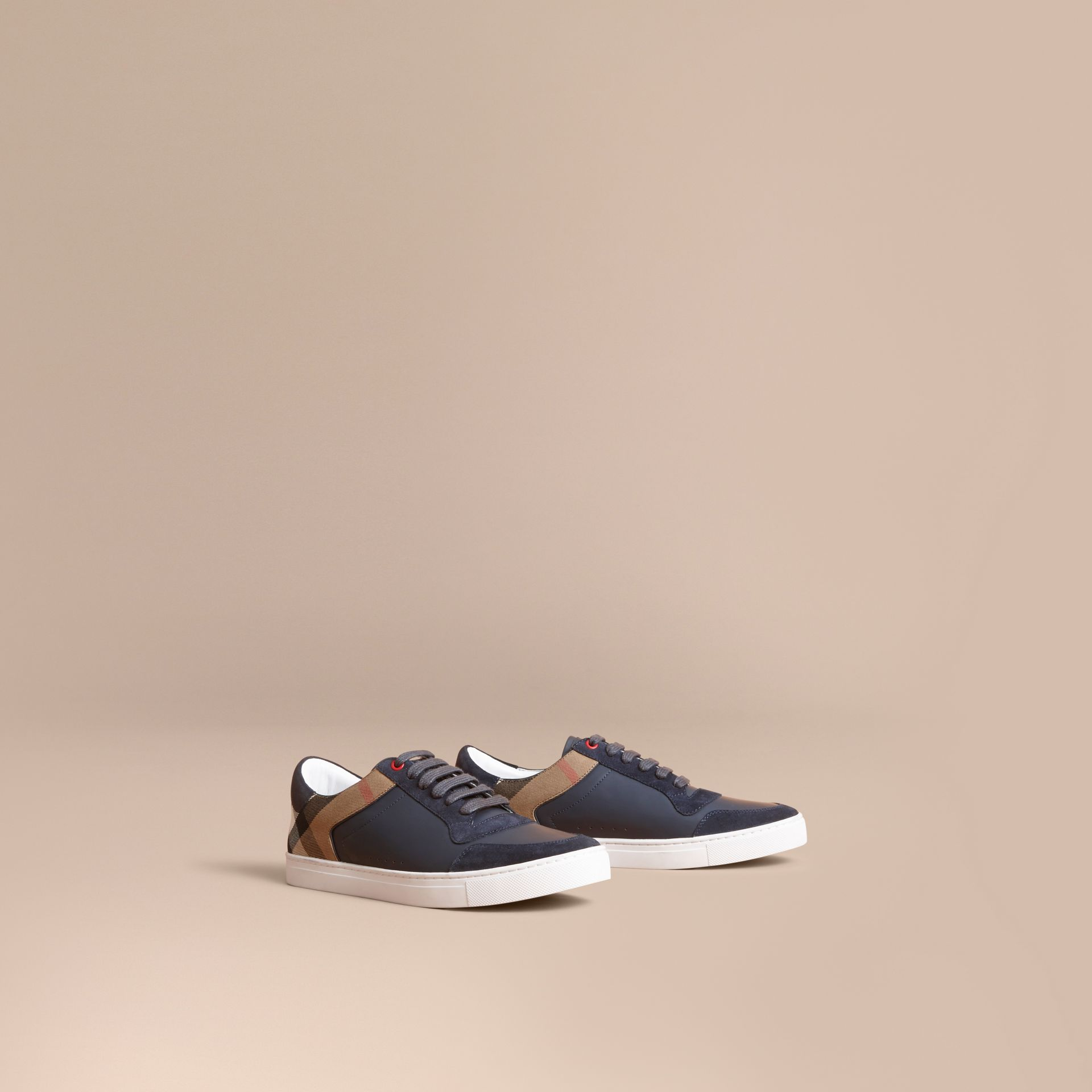 Leather and House Check Trainers in Navy - Men | Burberry - gallery image 0