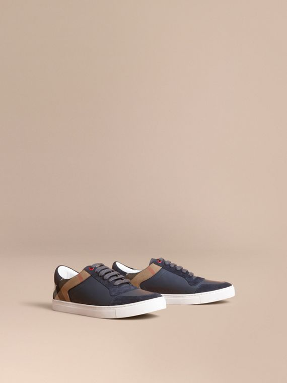 Leather and House Check Trainers in Navy - Men | Burberry Singapore