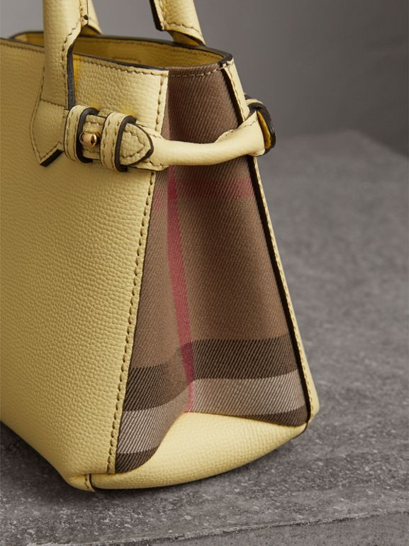 The Baby Banner in Leather and House Check in Camomile Yellow - Women | Burberry Australia - cell image 1
