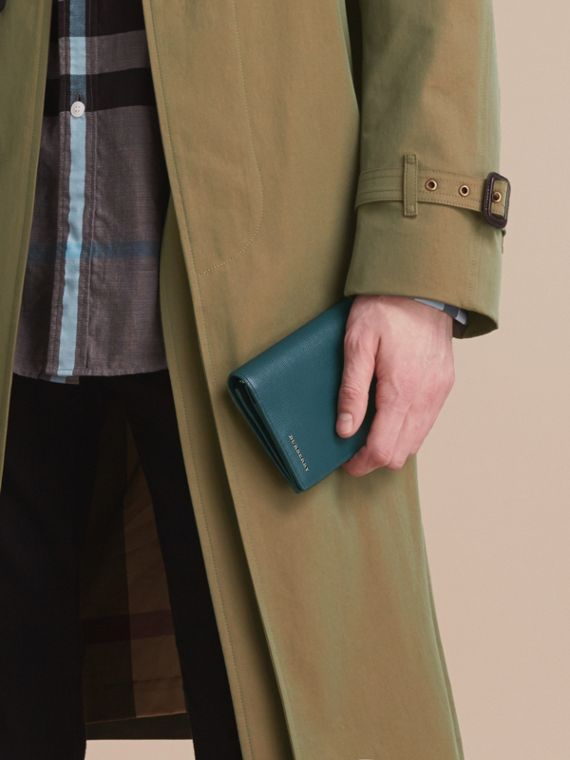 London Leather Continental Wallet in Dark Teal | Burberry - cell image 2
