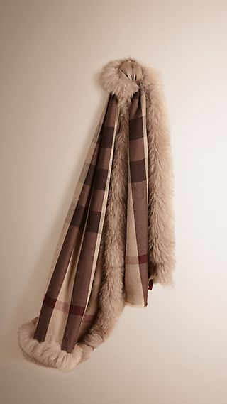 Fur Trim Cashmere Check Scarf