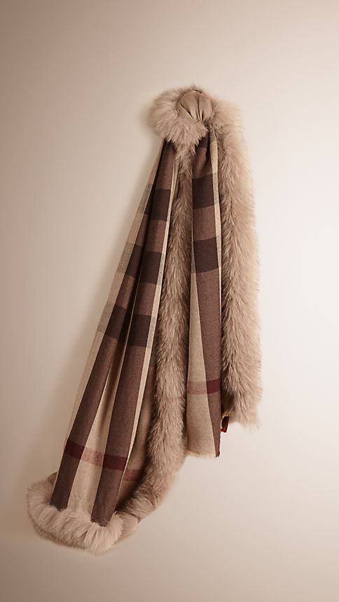 Smoked trench check Fur Trim Cashmere Check Scarf Smoked Trench - Image 1