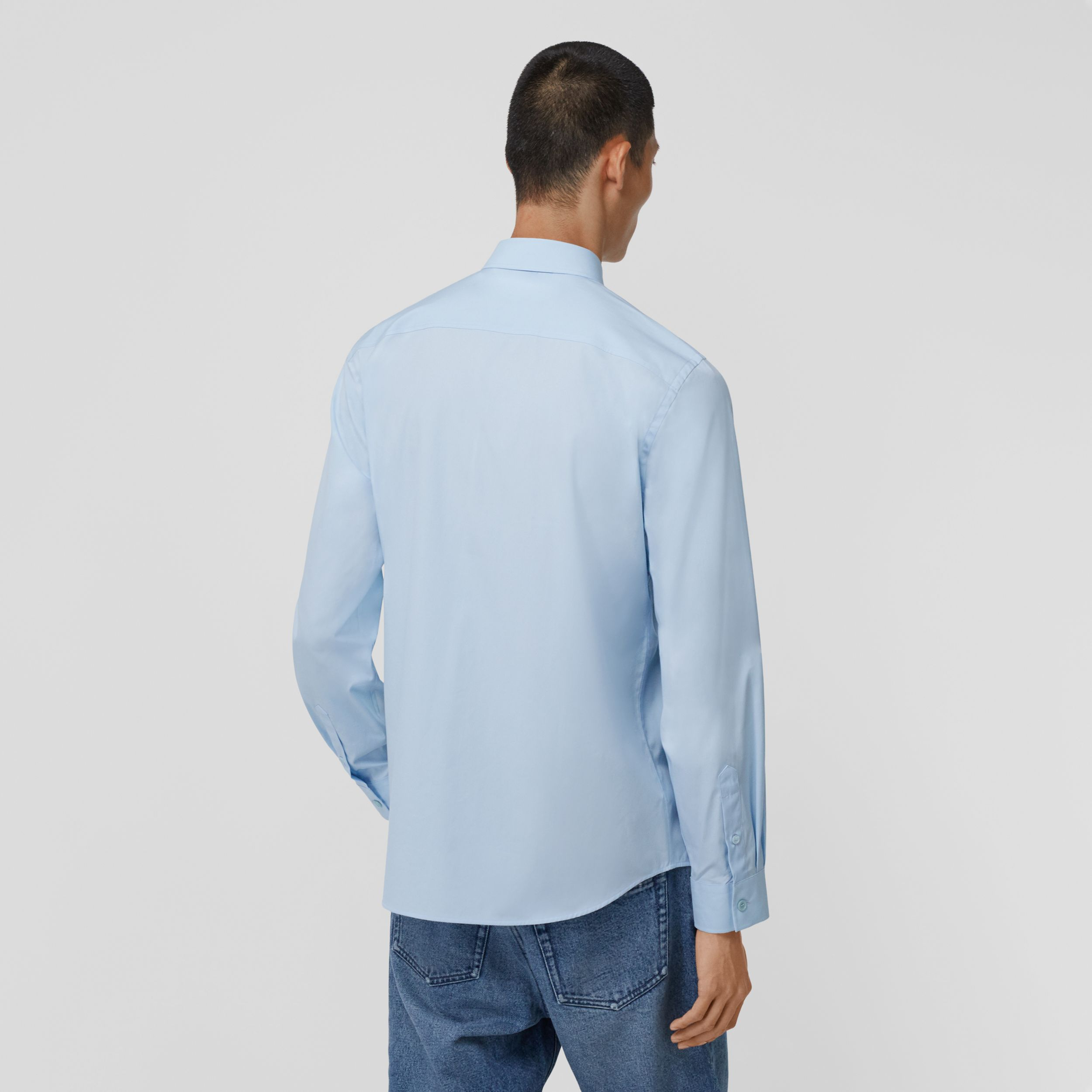 Logo Detail Stretch Cotton Poplin Shirt in Pale Blue - Men | Burberry - 3