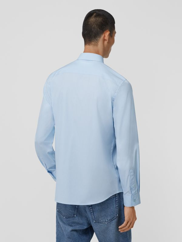 Logo Detail Stretch Cotton Poplin Shirt in Pale Blue - Men | Burberry Hong Kong S.A.R - cell image 2
