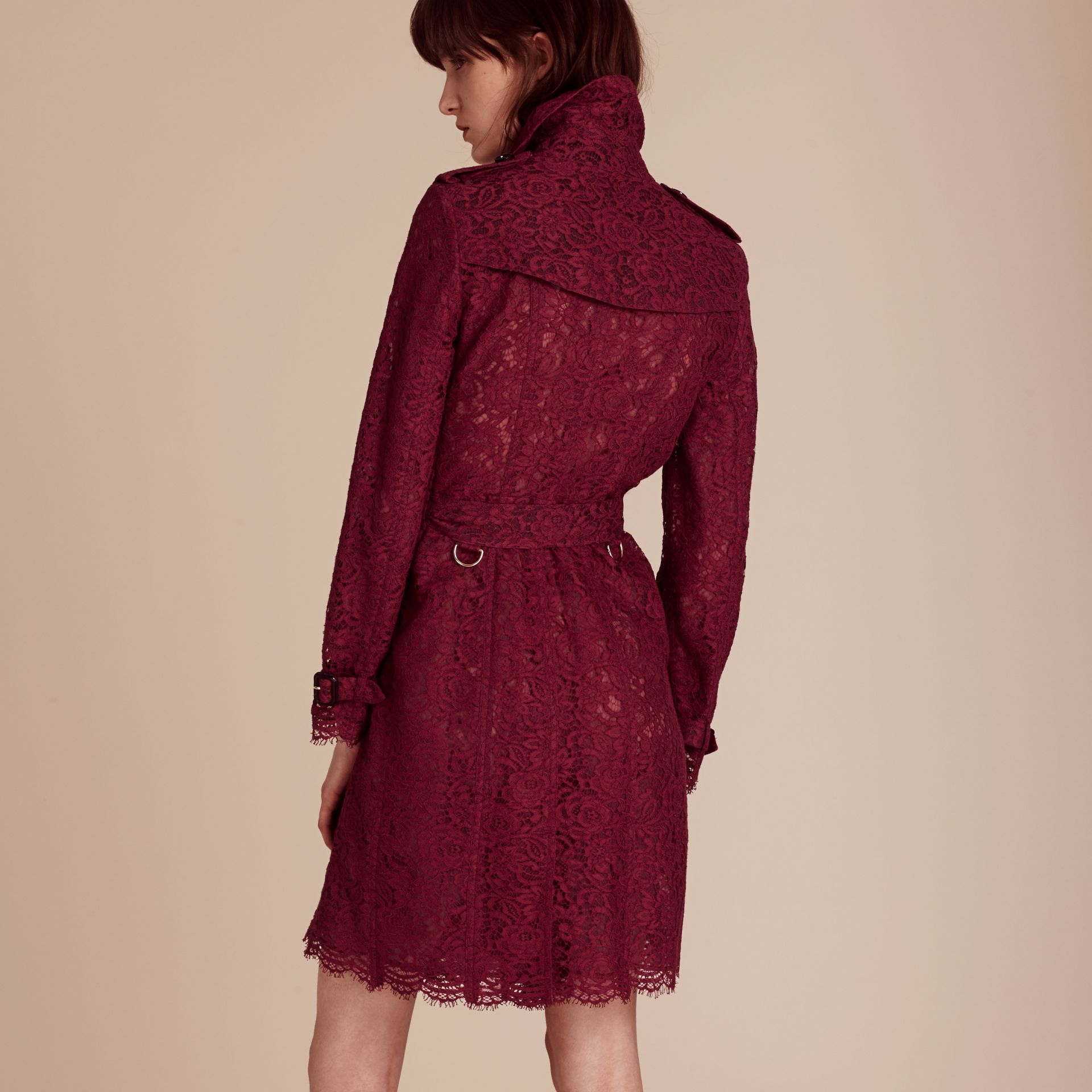 Dark crimson Italian Lace Scallop-hem Trench Coat - gallery image 3