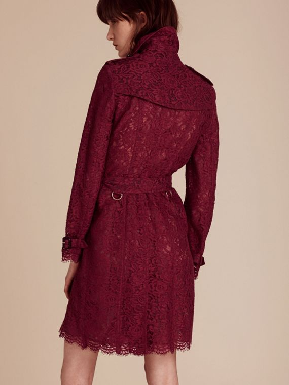 Dark crimson Italian Lace Scallop-hem Trench Coat - cell image 2