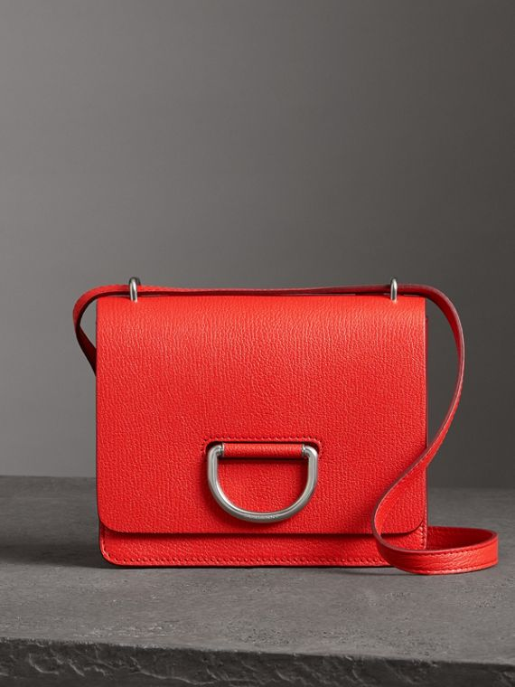 The Small Leather D-ring Bag in Bright Red