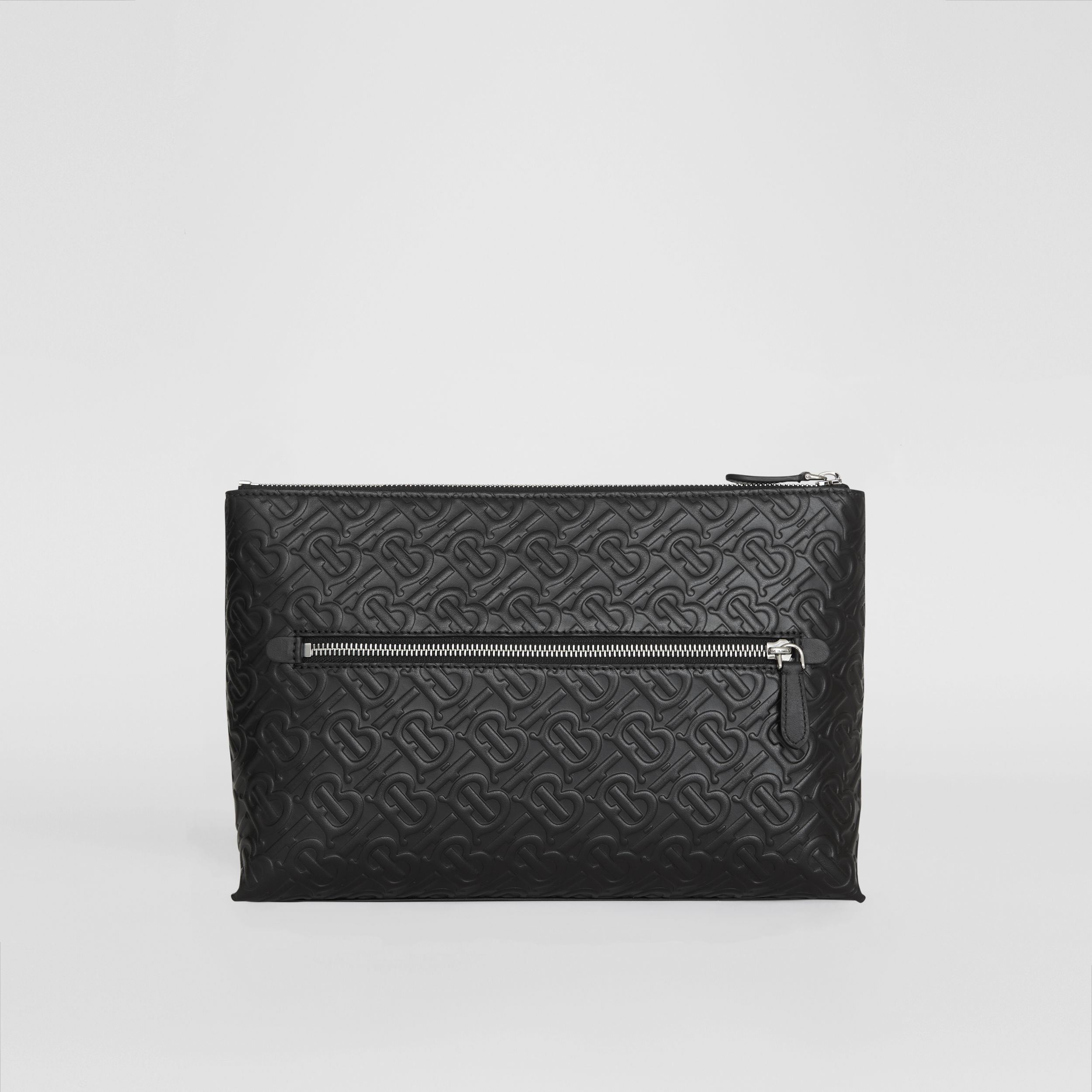 Monogram Leather Zip Pouch in Black | Burberry - 1
