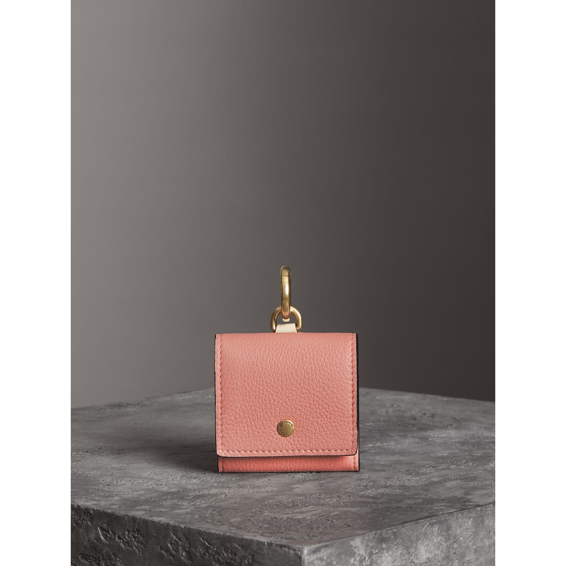 Small Square Leather Coin Case Charm in Dusty Rose/limestone - Women | Burberry - gallery image 4