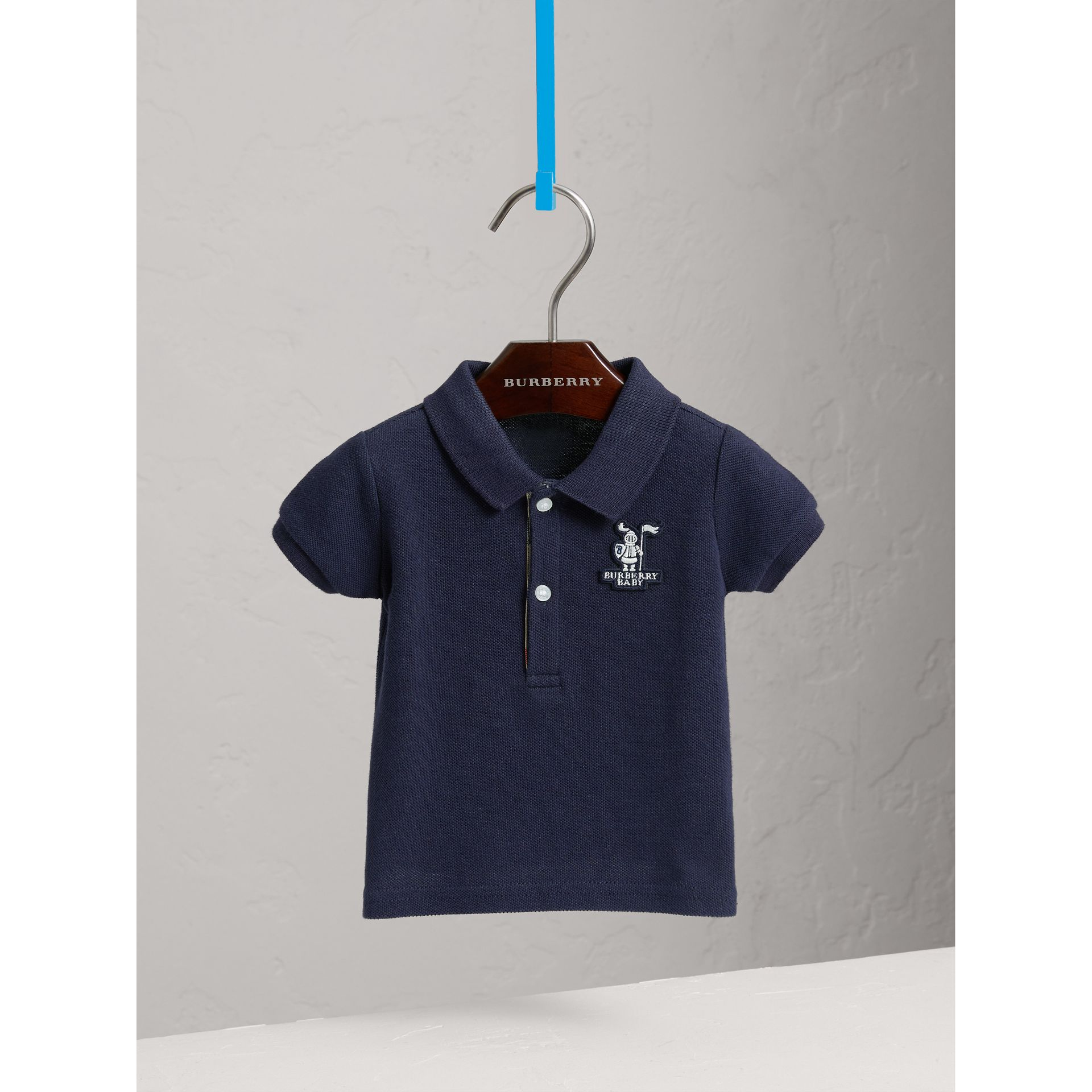 Cotton Piqué Polo Shirt in True Navy | Burberry - gallery image 0