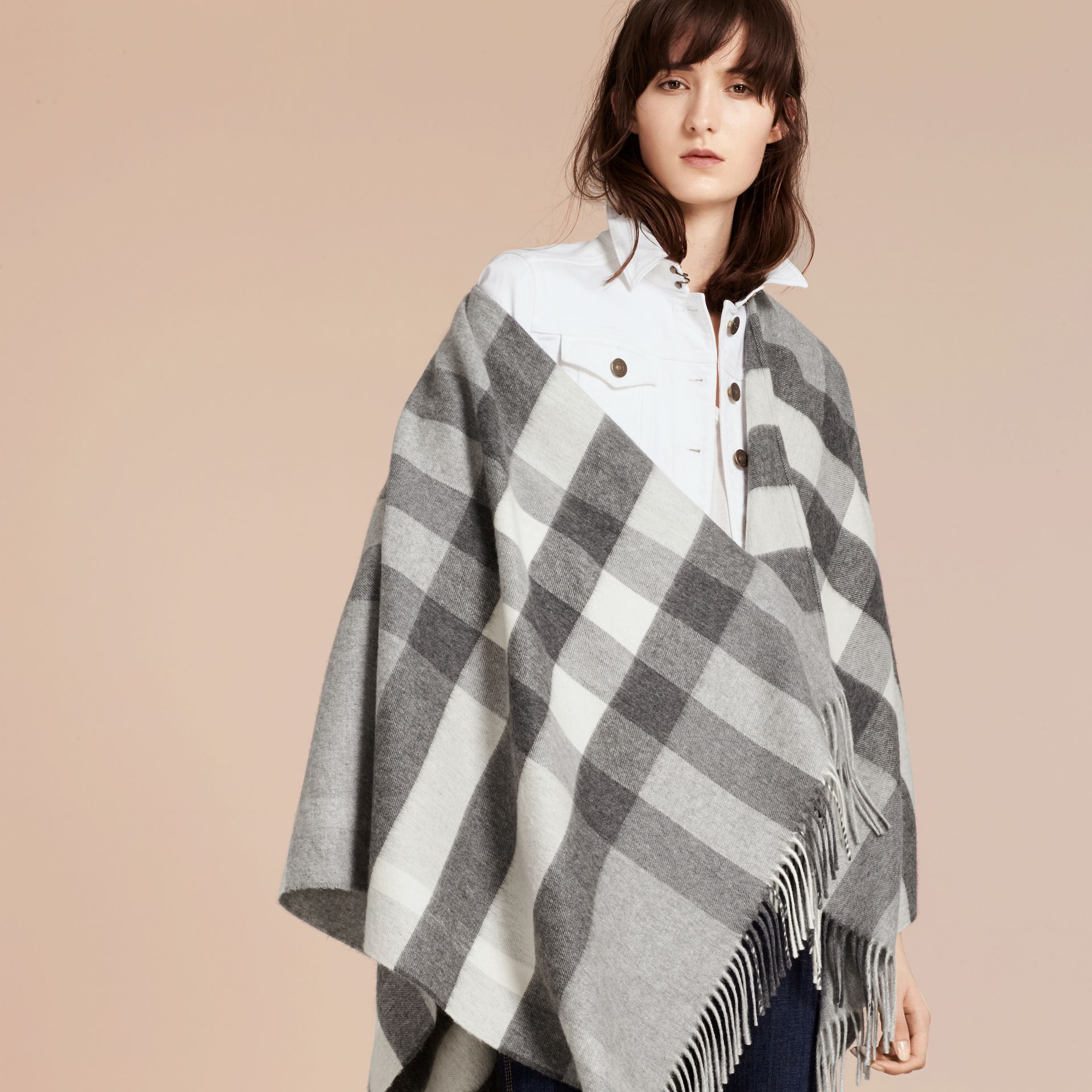 Check Cashmere and Wool Poncho Pale Grey - gallery image 8