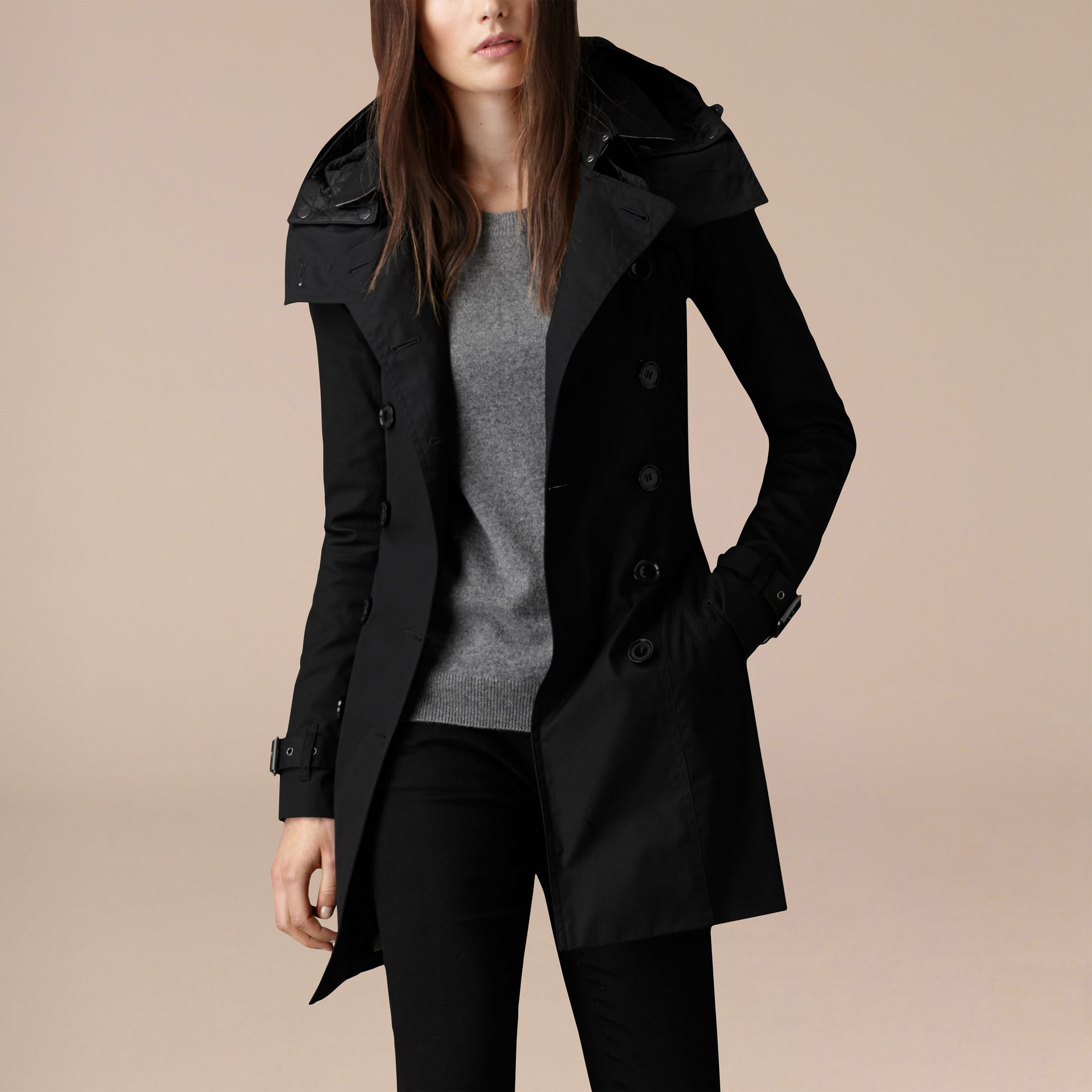 Black Hooded Cotton Trench Coat with Warmer Black - gallery image 4