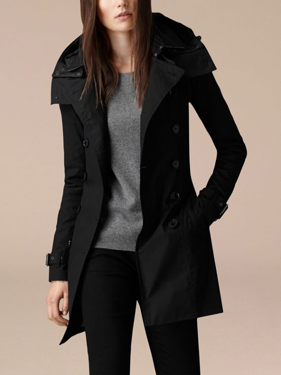 Black Hooded Cotton Trench Coat with Warmer Black - cell image 3
