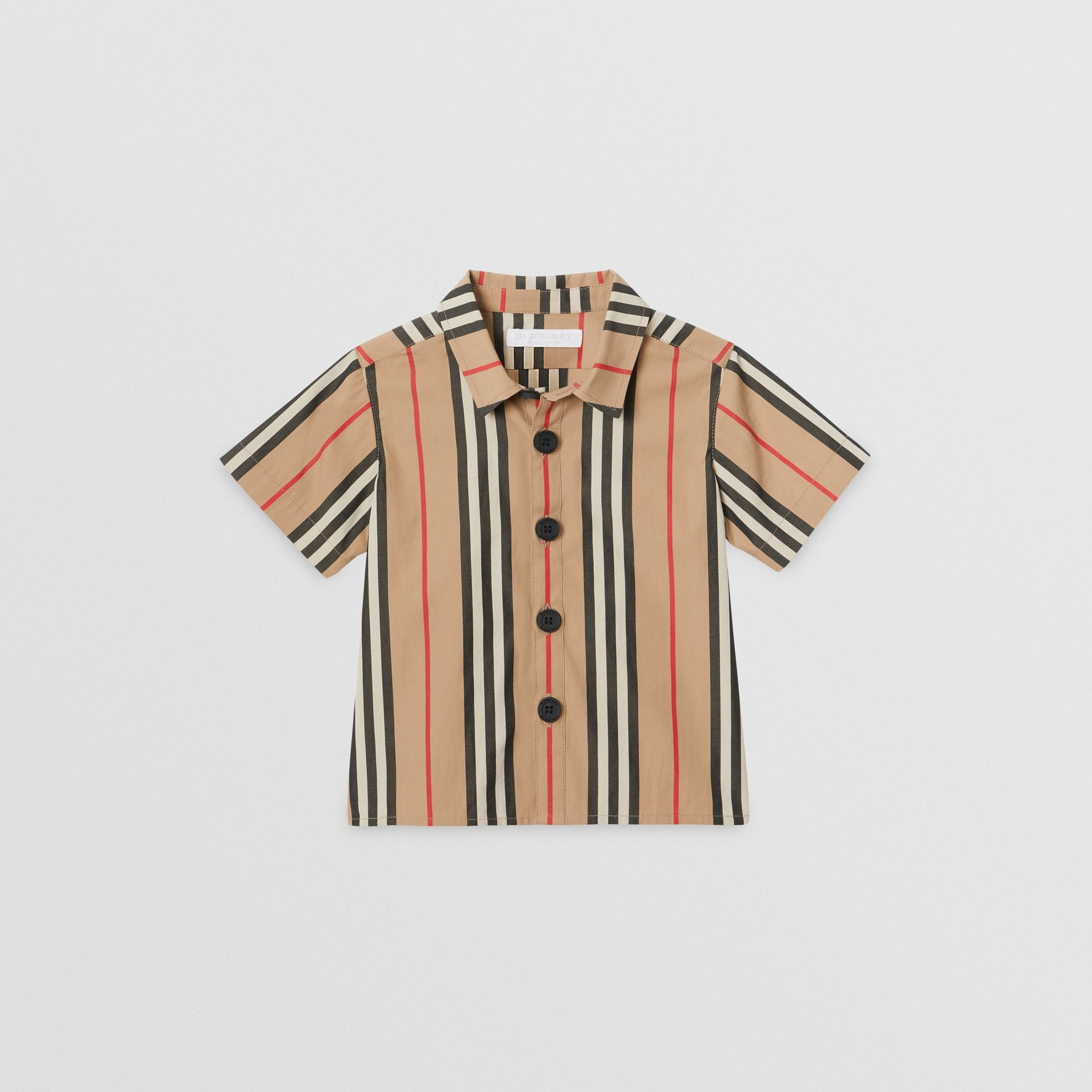 Short-sleeve Icon Stripe Cotton Shirt in Archive Beige - Children | Burberry Hong Kong - gallery image 0