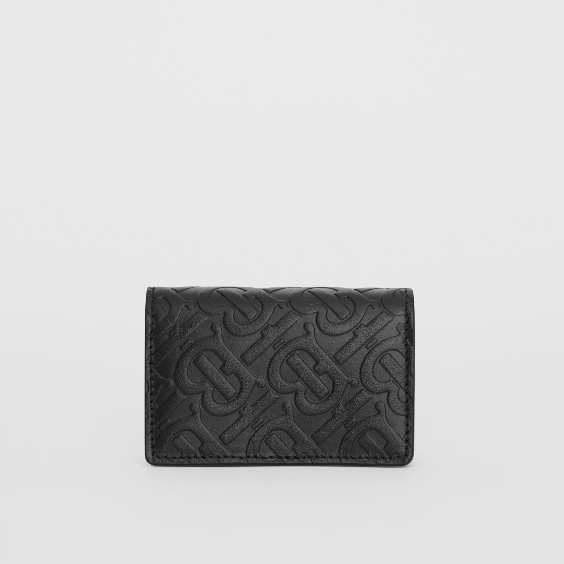 Monogram Leather Card Case in Black - Women | Burberry Singapore - gallery image 4