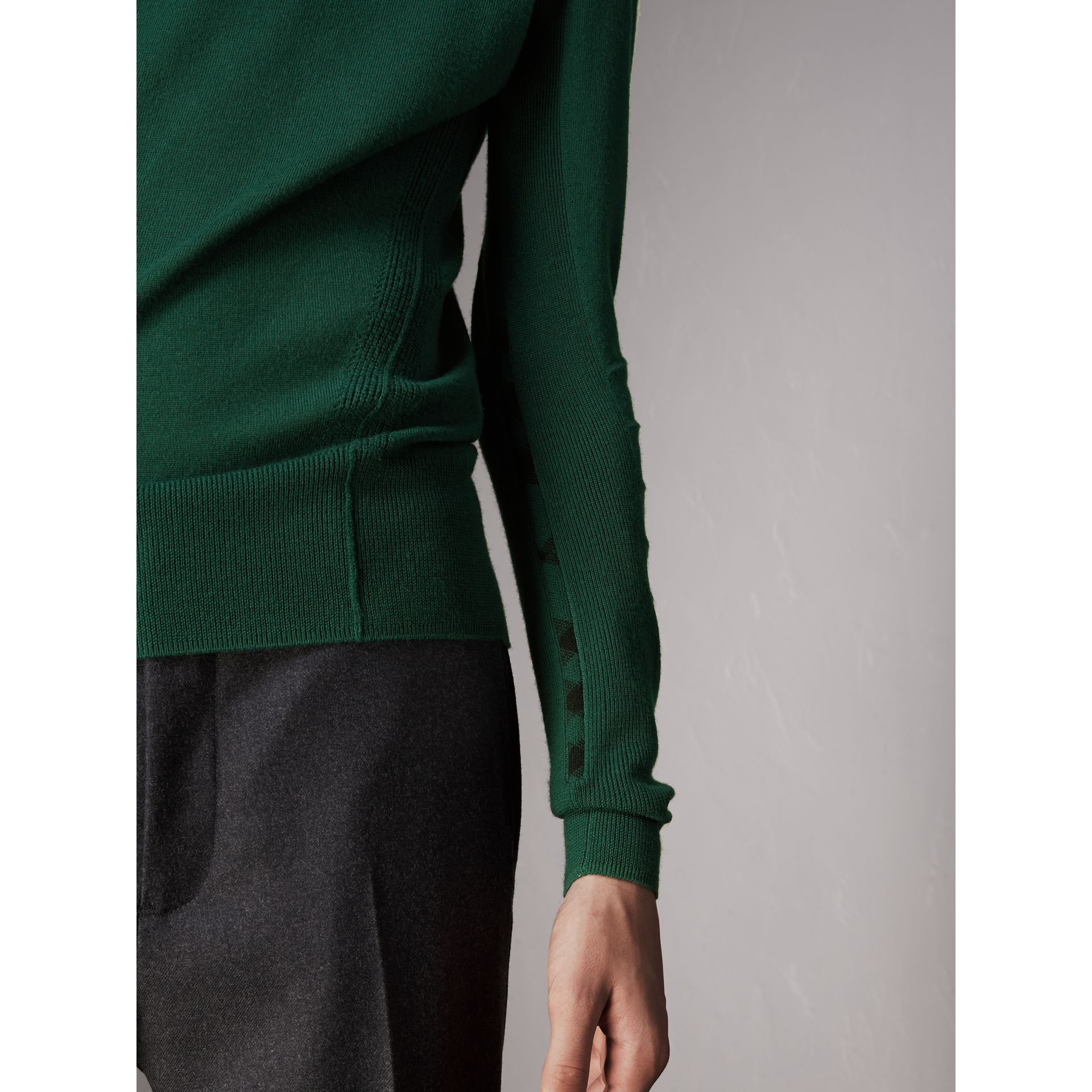 Check Detail Merino Wool Sweater in Dark Teal - Men | Burberry - gallery image 2