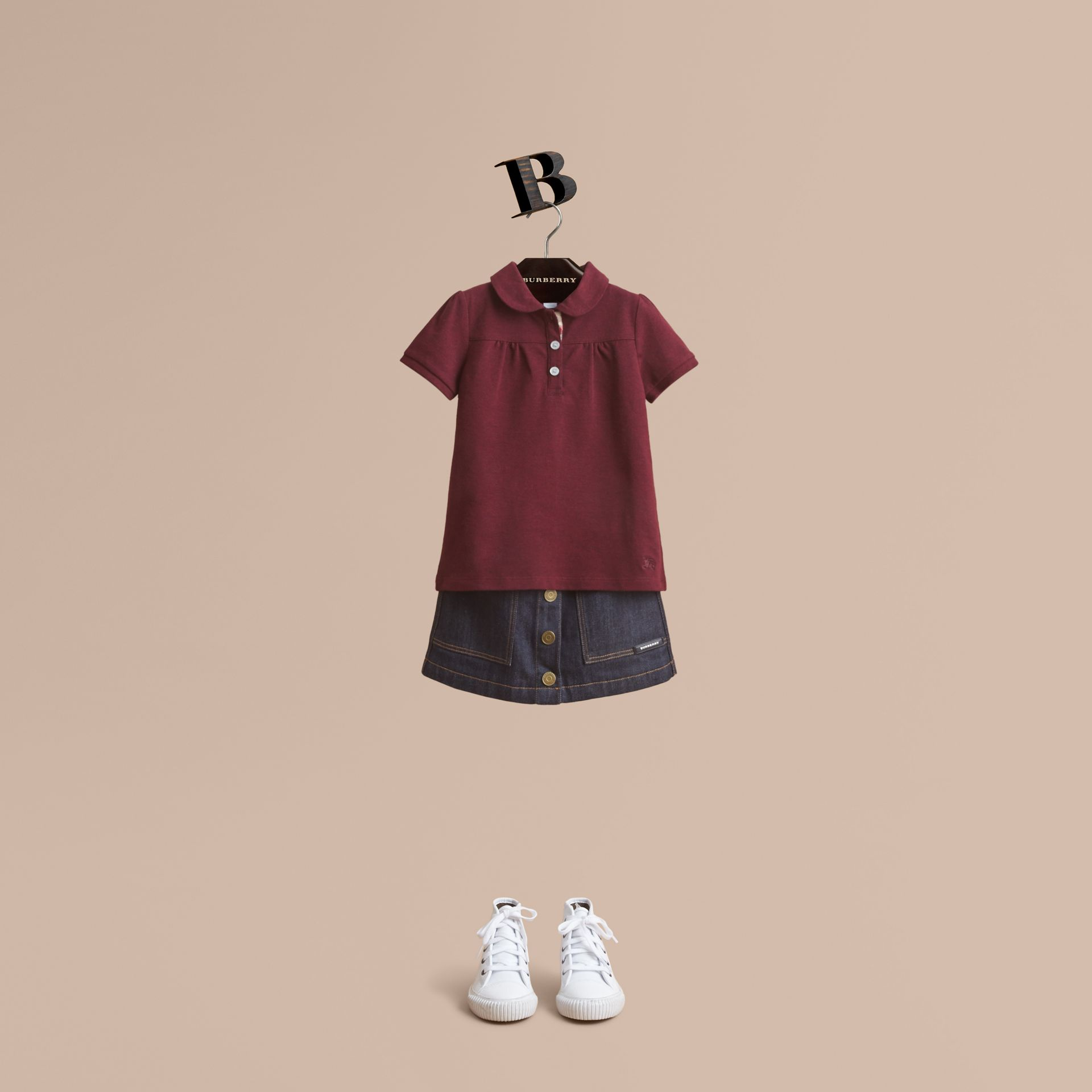 Peter Pan Collar Cotton Piqué Polo Shirt in Burgundy Melange - Girl | Burberry - gallery image 1