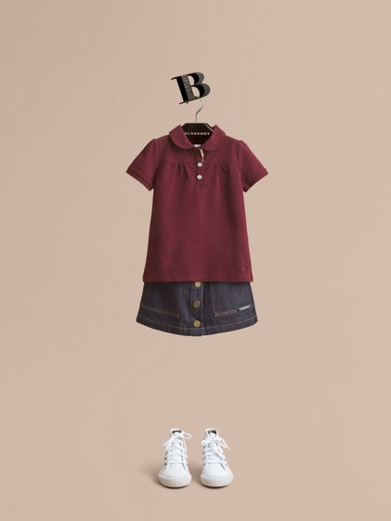 Peter Pan Collar Cotton Piqué Polo Shirt in Burgundy Melange - Girl | Burberry