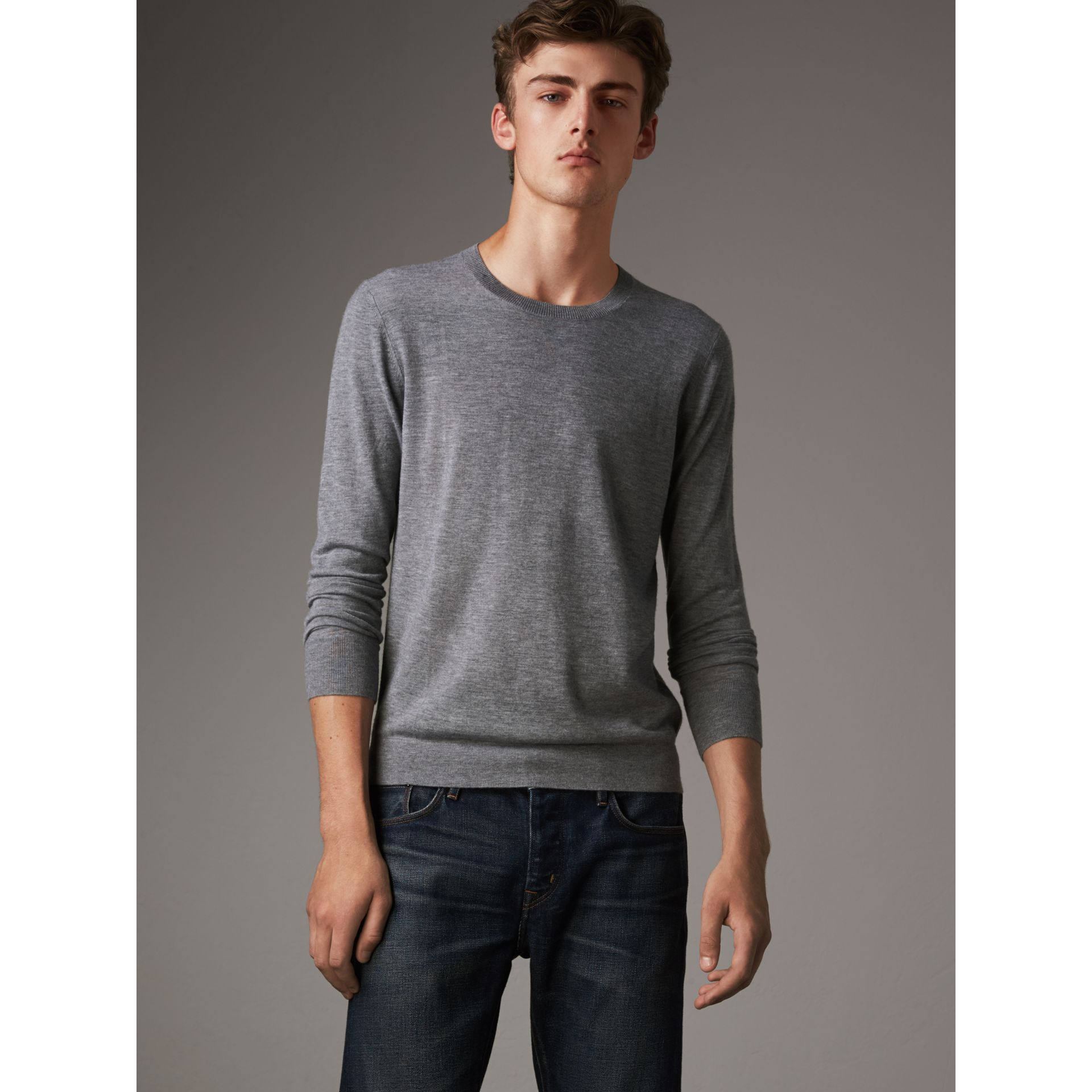 Lightweight Crew Neck Cashmere Sweater with Check Trim in Pale Grey Melange - Men | Burberry Australia - gallery image 5