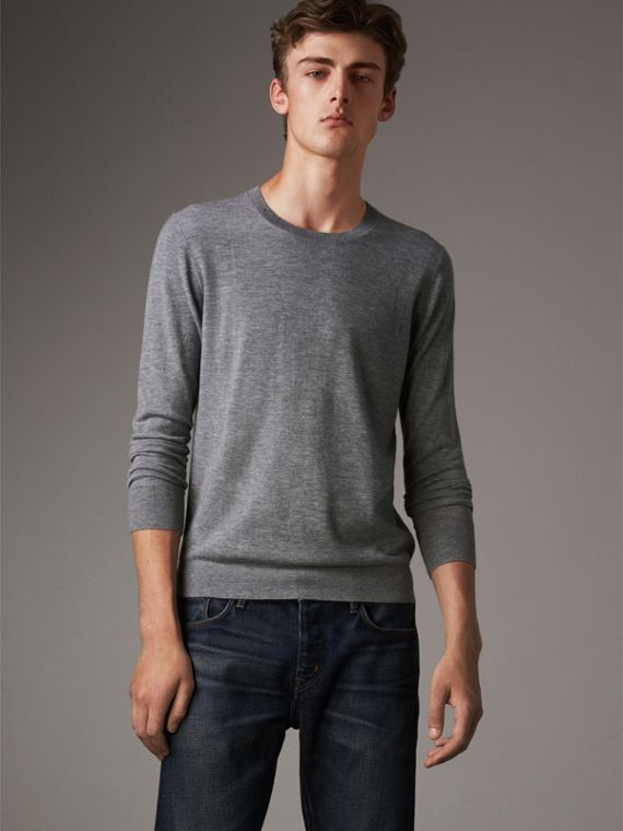 Lightweight Crew Neck Cashmere Sweater with Check Trim in Pale Grey Melange - Men | Burberry Singapore