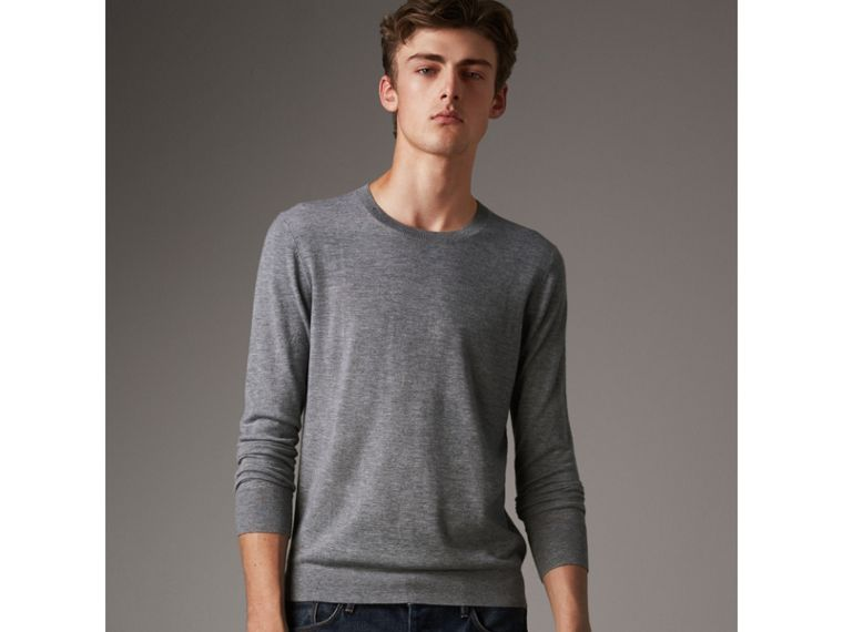 Lightweight Crew Neck Cashmere Sweater with Check Trim in Pale Grey Melange - Men | Burberry - cell image 4