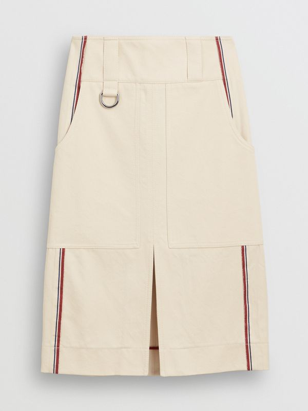 Stripe Detail Cotton A-line Skirt in Natural White - Women | Burberry United Kingdom - cell image 3