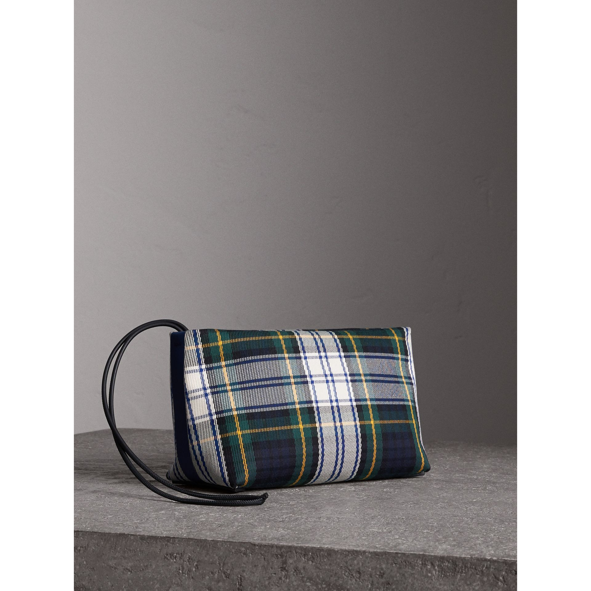 Tartan Cotton Clutch in Ink Blue/bright Yellow | Burberry Australia - gallery image 0