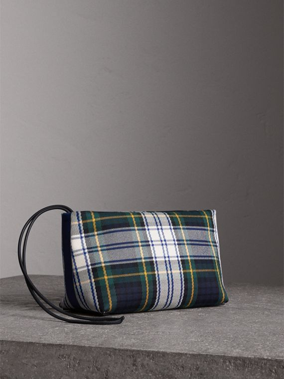 Tartan Cotton Clutch in Ink Blue/bright Yellow