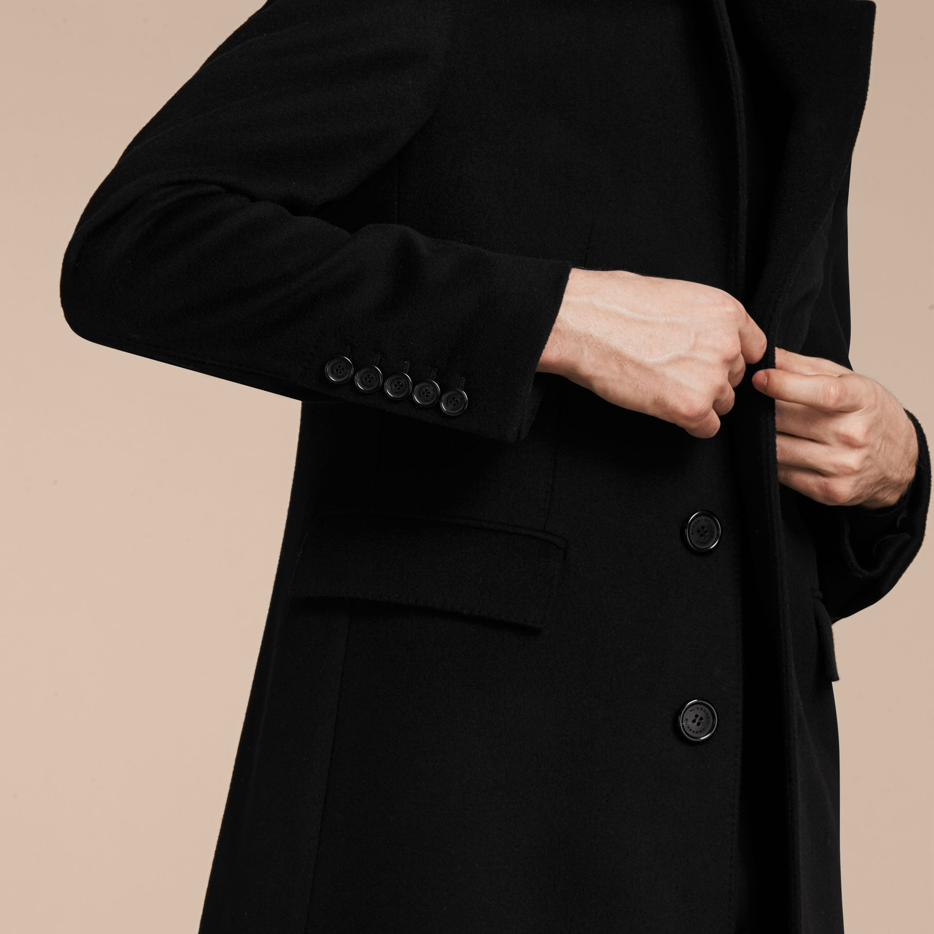 Black Velvet Collar Wool Cashmere Coat - gallery image 6