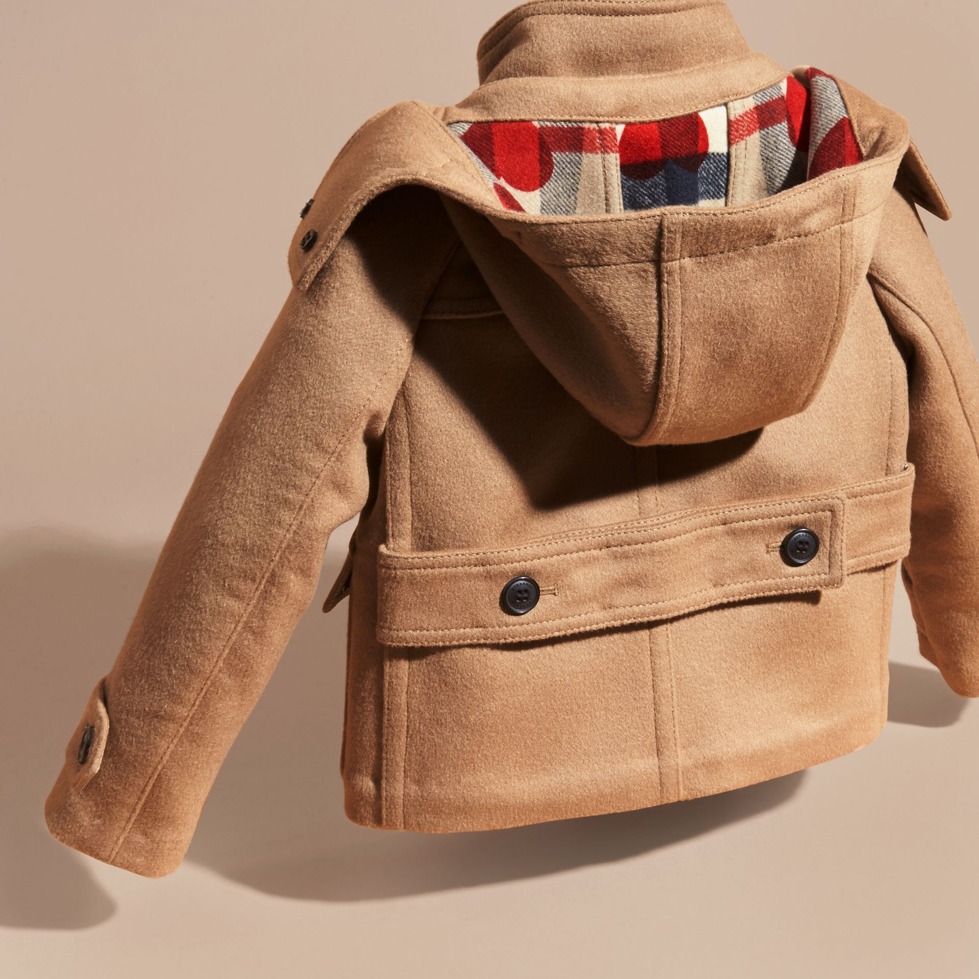 New camel Wool Duffle Coat with Check and Hearts Lining - gallery image 4