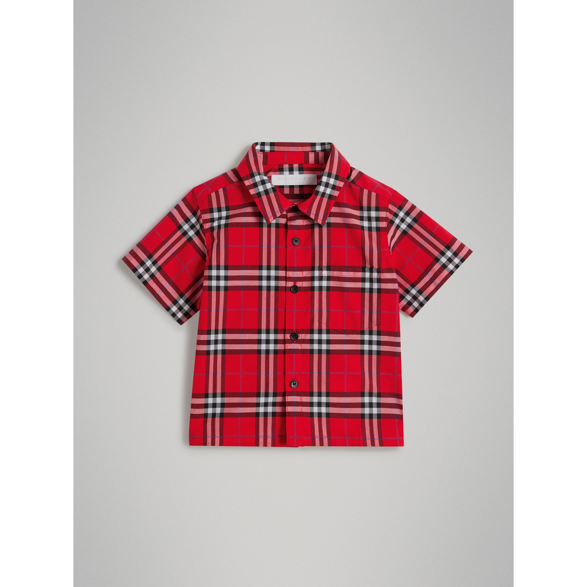 Short-sleeve Check Cotton Shirt in Bright Military Red | Burberry - gallery image 0