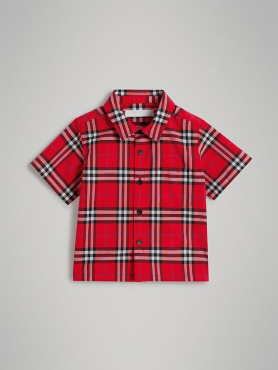 Camisa xadrez de algodão com mangas curtas (Vermelho Militar Intenso)
