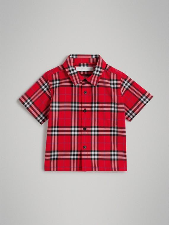 Kurzärmeliges Baumwollhemd mit Karomuster (Leuchtendes Militärrot)