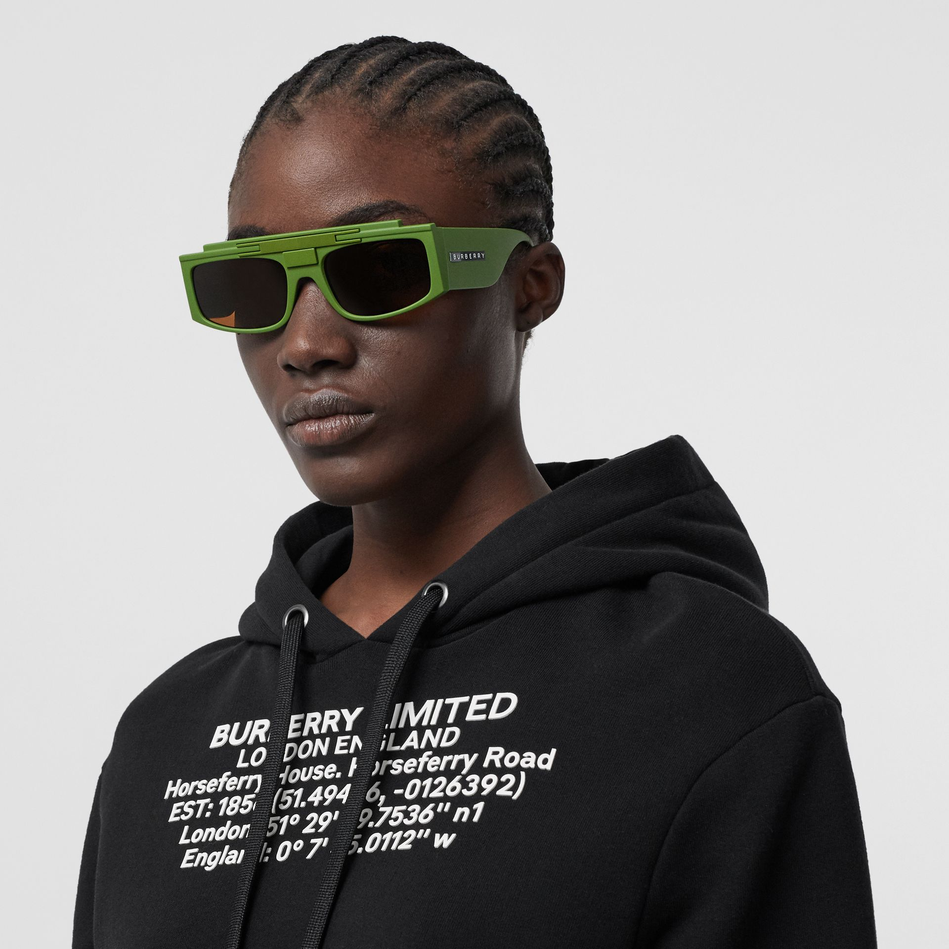 Rectangular Frame Sunglasses in Green - Women | Burberry - gallery image 2