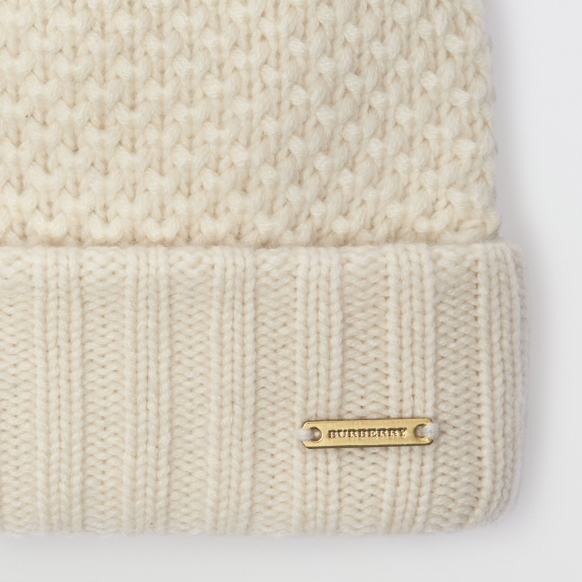 Fur Pom-Pom Beanie in Ivory - Women | Burberry United Kingdom - gallery image 1