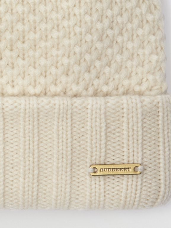 Fur Pom-Pom Beanie in Ivory - Women | Burberry - cell image 1