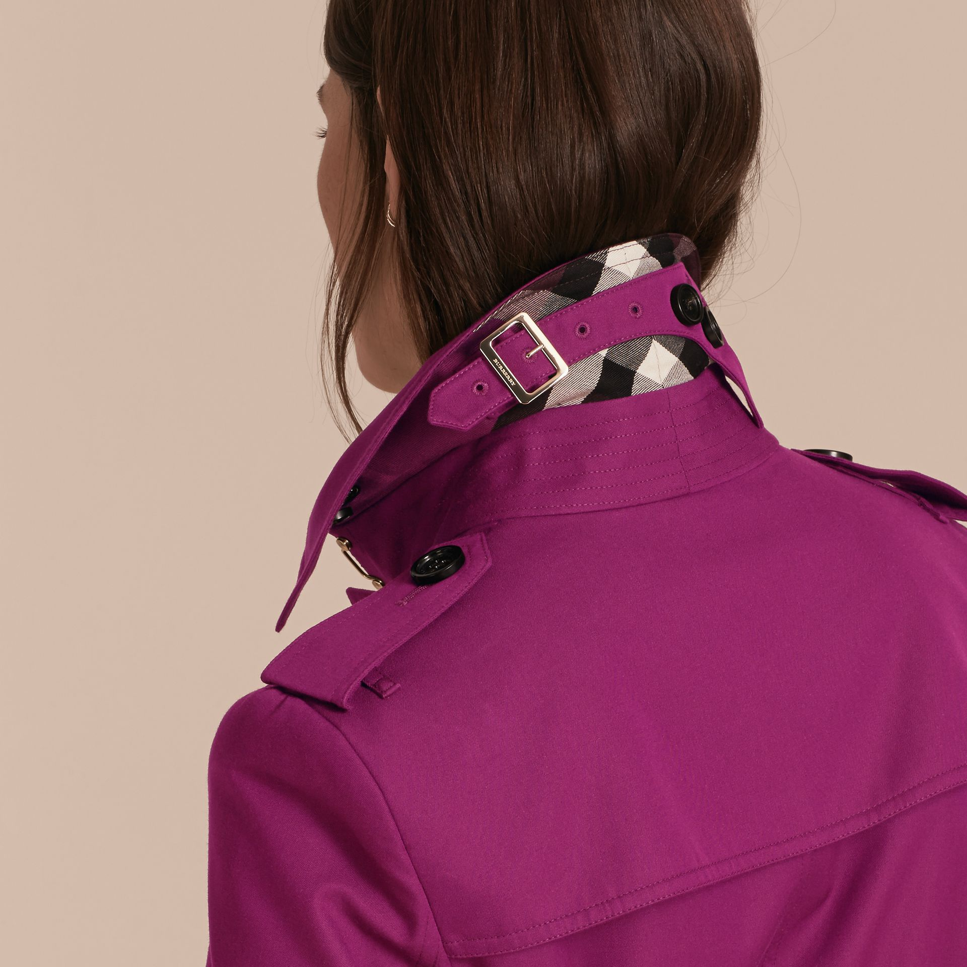 Single-breasted Trench Coat with Metal Buckle Detail Magenta Pink - gallery image 6