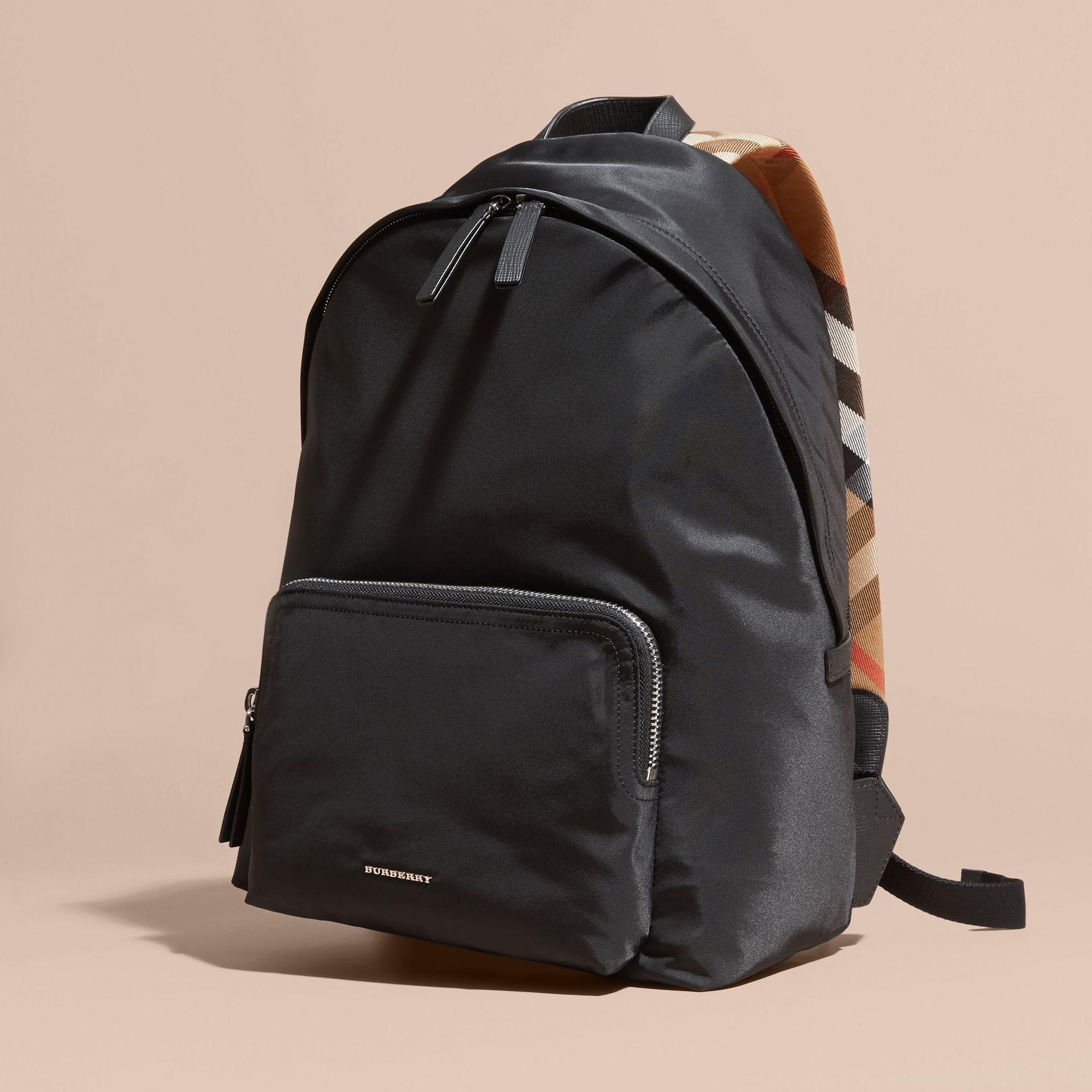Black Leather Trim Nylon Backpack with Check Detail - gallery image 7