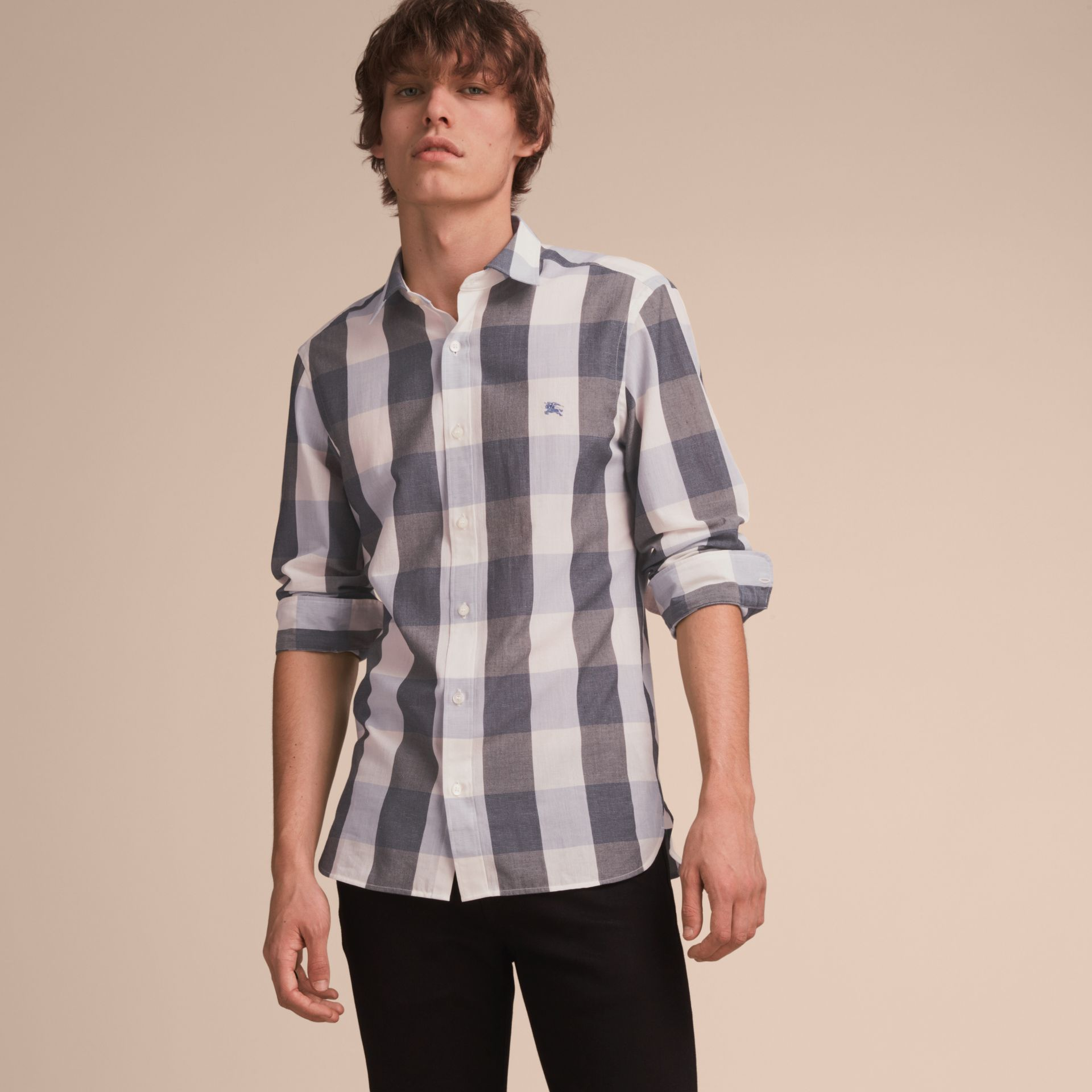 Oversize Gingham Cotton Linen Shirt in Pale Cornflower Blue - gallery image 6