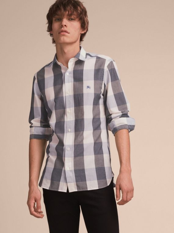 Oversize Gingham Cotton Linen Shirt Pale Cornflower Blue