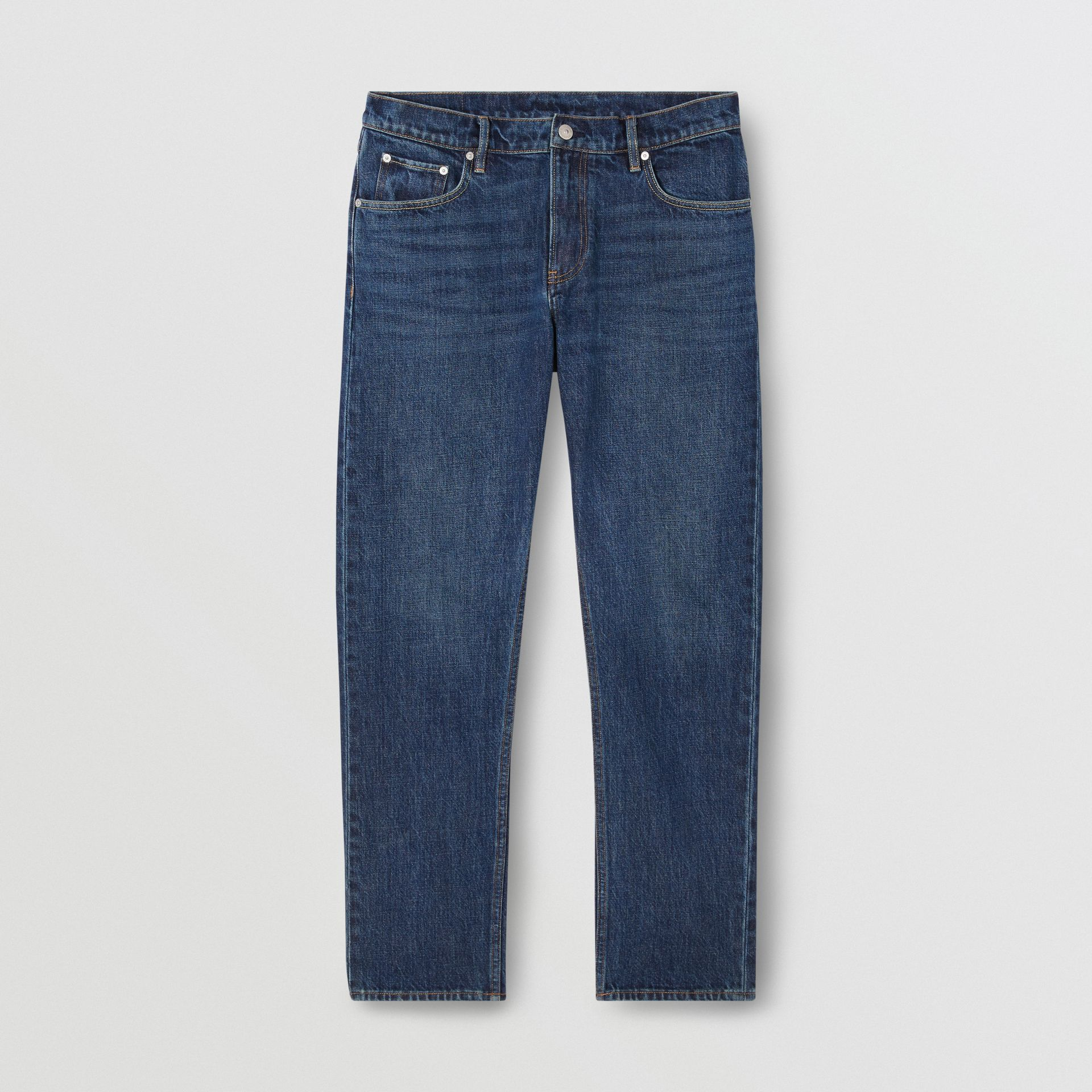 Straight Fit Washed Jeans in Dark Indigo - Men | Burberry - gallery image 3