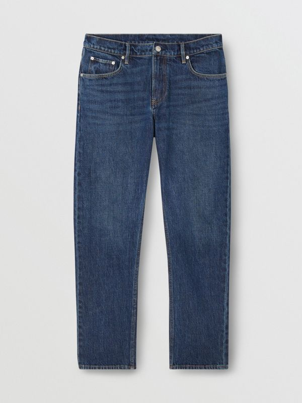 Straight Fit Washed Jeans in Dark Indigo - Men | Burberry - cell image 3